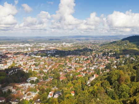 Panorma aerial view over town Freiburg im Breisgau in green valley, Germany photo