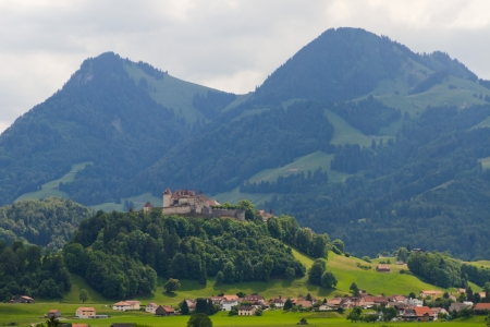 gruyere: old gruyere castle on hill, Switzerland