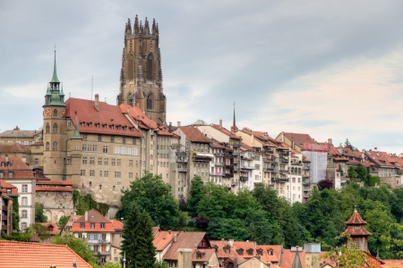 st  nicholas cathedral: old town of Fribourg, Switzerland with cathedral  St Nicholas Cathedral and 74 m high bell tower