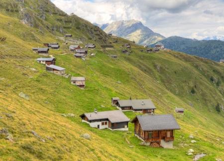 aletsch: wooden blockhouse huts at Belalp Aletsch glacier area Valais, Switzerland