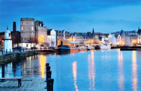 Edinburgh, Scotland  beautiful old harbour Leith   Stock Photo