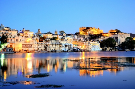 Udaipur, Rajasthan, India  City and fortress by night