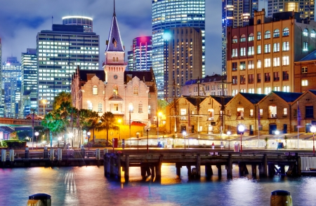 quayside: Sydney  The Rocks  at dusk Stock Photo