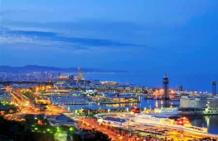 Barcelona, Harbour and City by night  photo