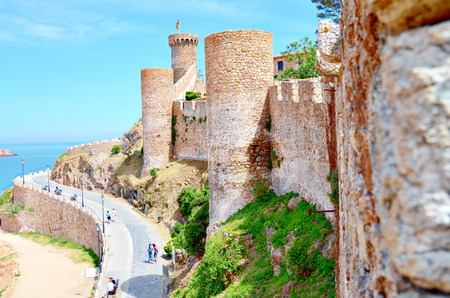 Tossa de mar, Costa Brava, Spain  Fortress with blue sky