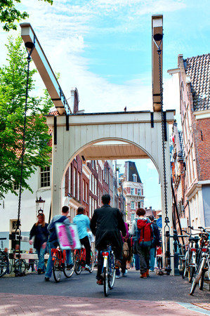 Typical Street Scenery in Summer, Amsterdam, Netherlands