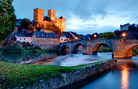 Runkel, Hesse, Germany  typical medieval castle and bridge by night