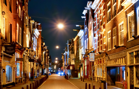 Typical Scenery with old Houses in Amsterdam, Netherlands