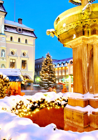 Lueneburg, Germany  illuminated, old town-hall with christmas tree at famous christmas-market