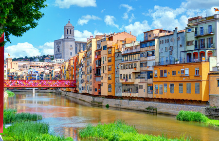Gerona, Catalonia, Spain  Cathedral and houses with decorated bridge  Flower Festival 2013