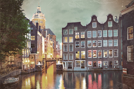 Amsterdam  St  Nicolas Church and Canals at dusk, vintage-style, retro-design