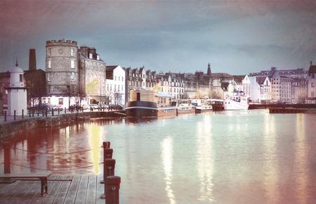 Leith, Edinburgh, Scotland  Old harbour Leith Vintage Style  Stock fotó
