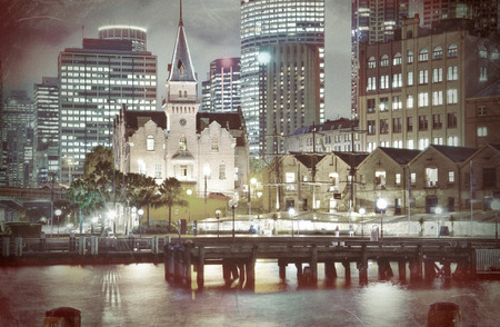 The Rocks , Sydney, Australia  Harbour and Harbour Buildings Vintage Style  photo