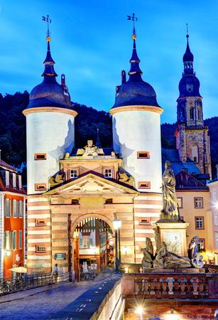 Heidelberg, Germany  famous Old Bridge Gate at night