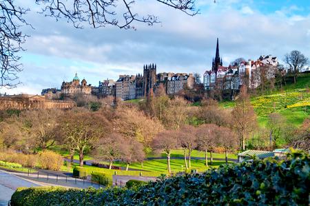Edinburgh  View on Royal Mile from Princess Street Gardens at springtime   Sajtókép