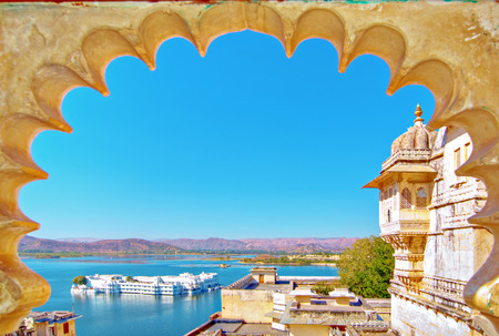 Rajasthan, India, Udaipur fortress view to Lake Pichhola with clear blue sky   photo