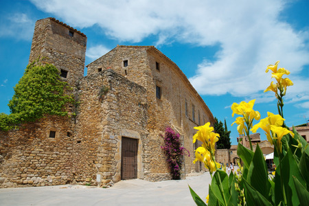Peratallada, Costa Brava, Cataonia, Spain  view from famous square with flowers