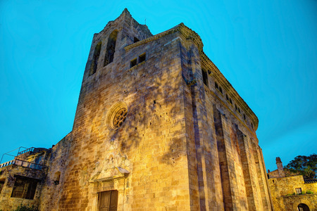 Famous medieval Town Pals by night, Costa Brava, Spain   Stock fotó