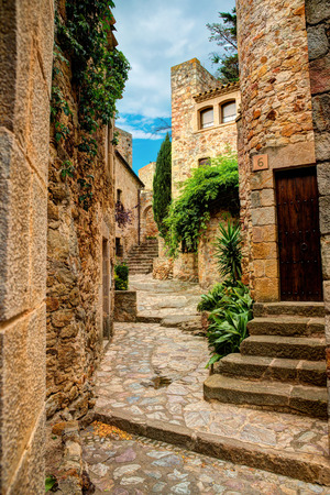 catalonia: Famous medieval Town Pals at a summer day, Costa Brava, Spain