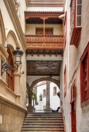 La Palma, canary islands: famous townhall capital city santa cruz with curch.
