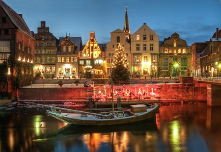 Snow and Christmas scenery by night, Lueneburg, near Hamburg, Germany.
