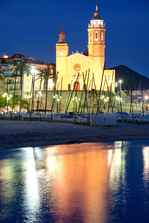 Church of Sant Bertomeu and Santa Tecla in Sitges by night. Close to Barcelona Stock Photo