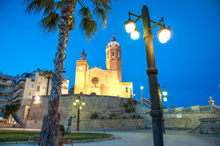 Church of Sant Bertomeu and Santa Tecla in Sitges by night. Close to Barcelona, ??? ? ?Spain.