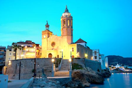 Church of Sant Bertomeu and Santa Tecla in Sitges by night. Close to Barcelona,