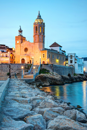 Church of Sant Bertomeu and Santa Tecla in Sitges by night. Close to Barcelona,  Spain.