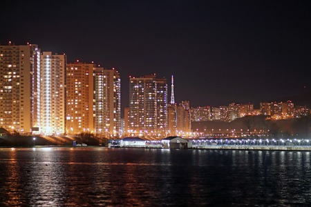Lights night city on the coast.