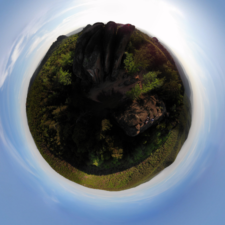 Aerial view spherical panorama of rocks and forest in the nature reserve Stolby. Banco de Imagens