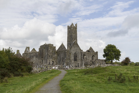 quin: Known as Quin Abbey, this ancient friary in County Clare, Ireland is one of the best preserved ruins from the 12th century. Stock Photo