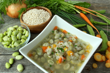 Traditional fava bean soup made with garden vegetables, lac St-Jean, Quebec, Canada photo