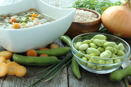 fava bean: Traditional fava bean soup made with garden vegetables, lac St-Jean, Quebec, Canada