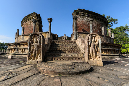 polonnaruwa: Ancient City of Polonnaruwa, photo of the Vatadage (Circular Relic House) in Polonnaruwa Quadrangle, UNESCO World Heritage Site, Sri Lanka, Asia.