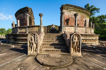 Ancient City of Polonnaruwa, photo of the Vatadage (Circular Relic House) in Polonnaruwa Quadrangle, UNESCO World Heritage Site, Sri Lanka, Asia.