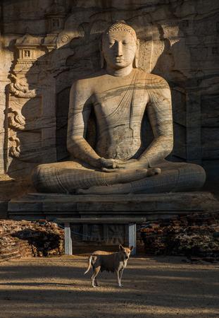 gal: Ancient City of Polonnaruwa, seated Buddha in meditation at Gal Vihara Rock Temple (Gal Viharaya), Sri Lanka, Asia.