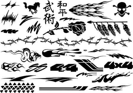 Voiture, Moto Graphics Véhicule Racing, Vinyls & Stickers Banque d'images - 68188606