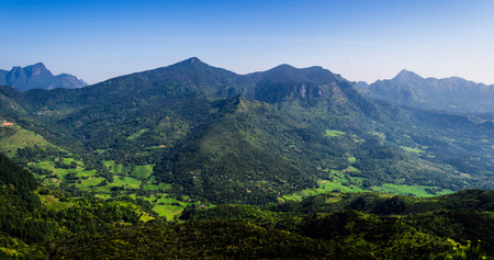 The Knuckles Mountain Range in central Sri Lanka, Kandy. The range takes its name from a series of recumbent folds and peaks in the west of the massif which resemble the knuckles of clenched fist