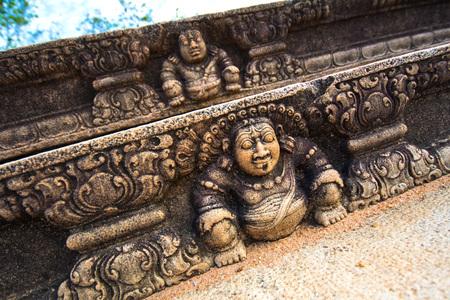 Detailed carvings of Staircase at Mahasen Maligawa Anuradhapura, Sri Lanka