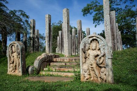 Ruins of stone columns at Thuparama Dagoba in the Mahavihara (The Great Monastery), Sacred City of Anuradhapura, Sri Lanka, Asia. Editorial