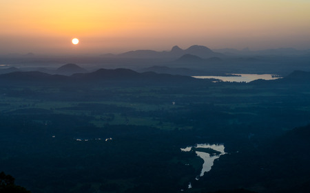 Sunrise from 18th Bend on 18 bend road from Kandy to Mahiyanganaya, Sri Lanka Imagens