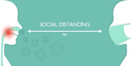 social distancing to prevent from virus spreading and flu prevention, coronavirus, social isolation and self quarantine concept