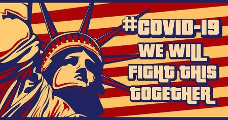 Retro style motivational banner to fight covid-19 in America, Vector Concept Design