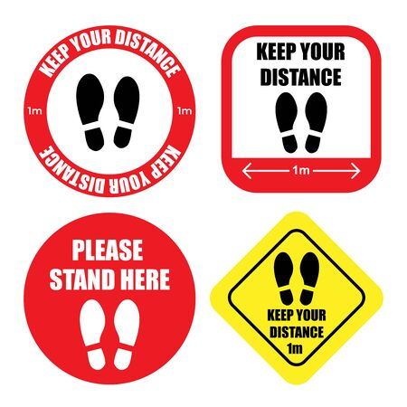 Collection of Social distancing graphic signs to use in public ques in vector format Иллюстрация
