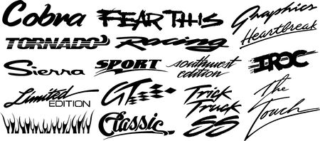Vinyls & Decals for Car, Motorcycle, Racing Vehicle Graphics in isolated vector format Vectores