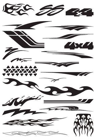 Vinyls & Decals for Car, Motorcycle, Racing Vehicle Graphics in isolated vector format Ilustración de vector