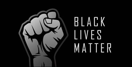 Black Lives Matter. Human hand raised in the air. Realistic style vector illustration. Çizim