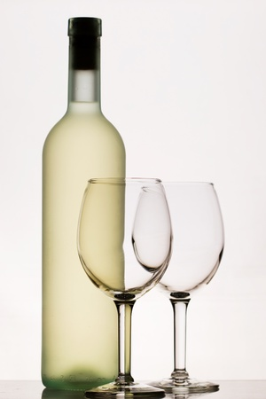 Witte wijn met twee wijnglazen Stockfoto