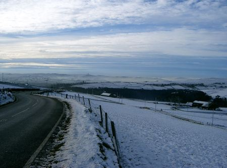 Looking down to Pecket Well & Hedden Bridge from Oxenhope Moor, England Stock Photo